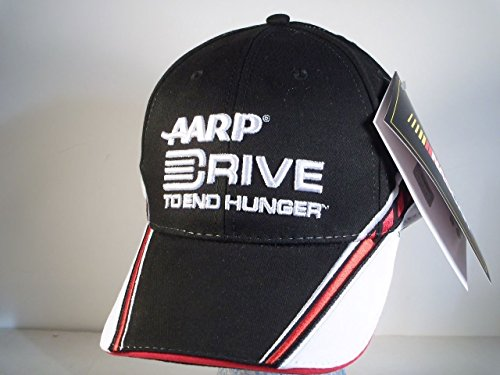 Jeff-Gordon-24-Black-White-Red-AARP-Drive-To-End-Hunger-Hat-Cap-One-Size-Fits-Most-OSFM-Adjustable-Velcro-Strap