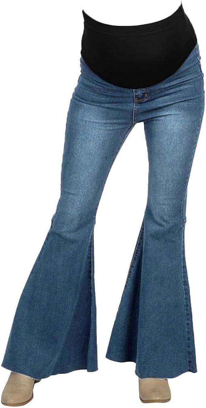 TANGTANGYI Jean Femme Enceinte Déchirés Pantalons Ample
