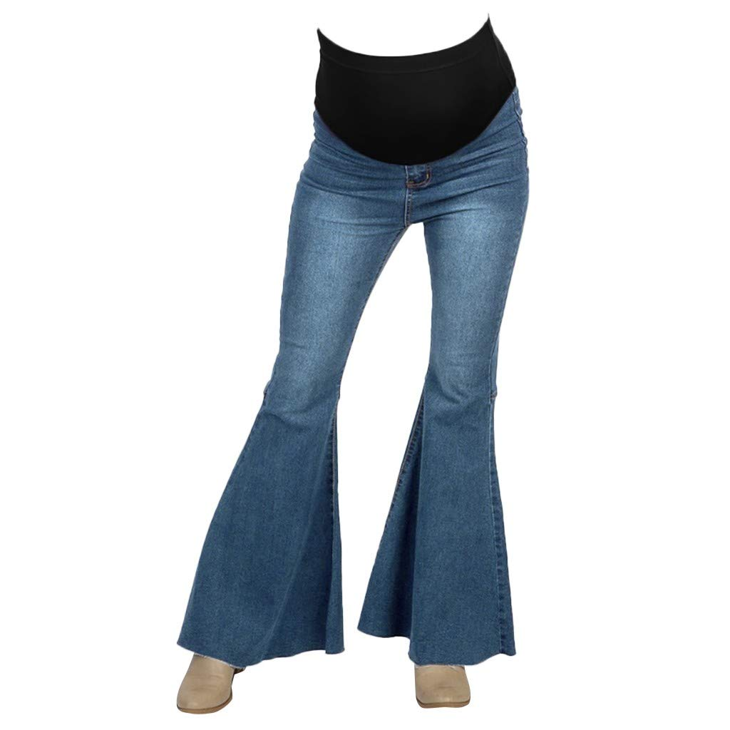 Maternity Women's Maternity Bootcut Comfy Stretchy Bell Bottom Flare Denim Jeans Pants