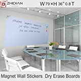 ZHIDIAN Magnetic white board stickers for wall / large dry erase board 79 X 36 Inches /markers and eraser/ Magnets