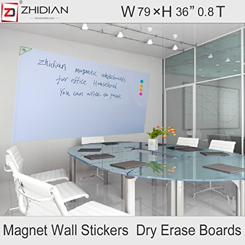 ZHIDIAN Magnetic white board stickers for wall / large dry erase board 79 X 36 Inches /markers and eraser/ Magnets by ZHIDIAN