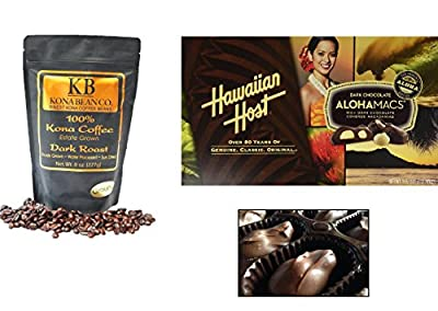 Kona Coffee & Hawaiian Host Gourmet Coffee Chocolate Gift set 100% Kona Coffee Dark & Medium Roast Coffee Whole Bean & Ground Alohamacs Silky Dark Chocolate Macadamia Nuts