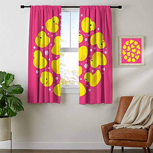 - Mozenou Rubber Duck, Curtains Light Blocking, Fun Baby Duckies Circle Artsy Pattern Kids Bath Toys Bubbles Animal Print, for Bedroom, W72 x L45 Inch Pink and Yellow