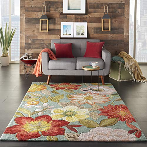 - Nourison Fantasy Rectangle Rug, 5-Feet by 7.6-Feet, Aqua