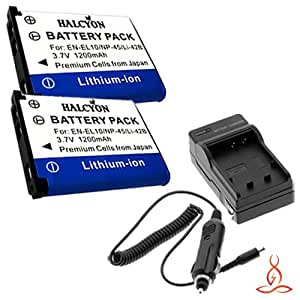 Two Halcyon 1200 mAH Lithium Ion Replacement Battery and Charger Kit for Nikon Coolpix S570 12.0 Megapixel Digital Camera and Nikon EN-EL10