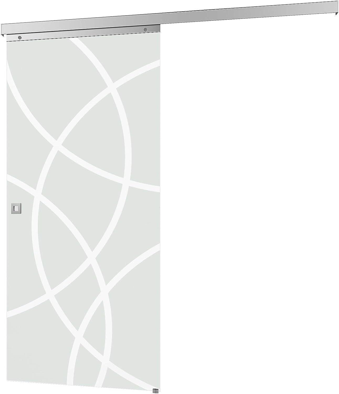 Puerta corredera de cristal de 880 x 2035 mm - Cristal de seguridad ESG de 8 mm - juego completo con herrajes, tiradores y puerta de cristal (acabado circular satinado y tirador