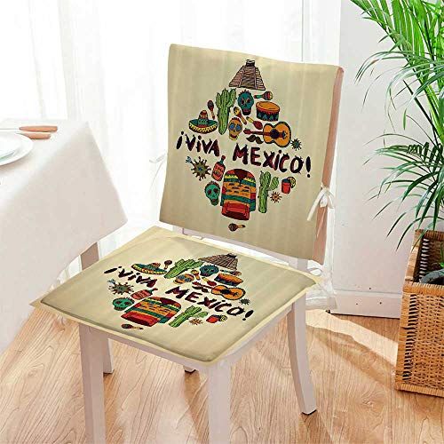 2 Piece Set Chair Cushion Mexican Symbols Viva Mexico Ornate Historic Heritage Civilizati Drumsticks Perfect Indoor/Outdoor Mat:W17 x H17/Backrest:W17 x H36 by Mikihome