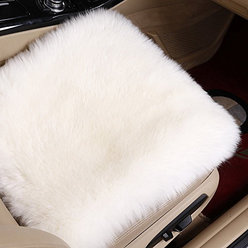Sell4Style 18 Inch Australia Genuine Sheepskin Car Seat Cushion Covers Chair Pad One Seat Cover For car, office chair, or plane (White) (Wool Carpet Padding)