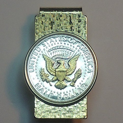 U.S.  Kennedy (Eagle) half dollar - Gorgeously 2-Toned (Uniquely Hand done) Gold on Silver coin Hinged money clip for men for dad Christmas groomsmen birthday for him for women