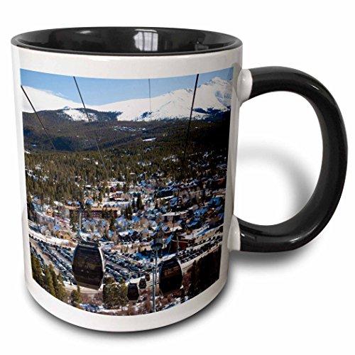 - 3dRose Danita Delimont - Skiing - USA, Colorado, Breckenridge, ski lift, Mt Baldy - US06 WBI0081 - Walter Bibikow - 15oz Two-Tone Black Mug (mug_143226_9)