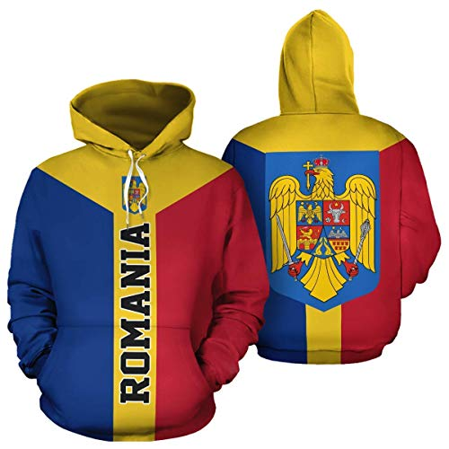 Romanian Coat of Arms Romania Flag Unisex Pullover Long Sleeve Hoodies Hooded Sweatshirts with Pocket Birthday Christmas Gifts For Men Women Boys Girls ()