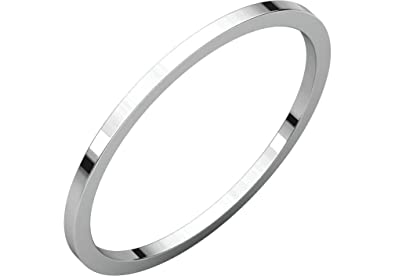 0a0623fd012 Amazon.com: Rhodium-Plated 14k White Gold 1mm Plain Stacking Ring ...