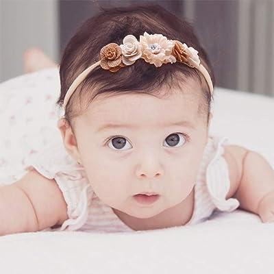 Super Soft /& Stretchy Nylon Floral Hairbands for Newborn Toddler cherrboll 3pcs Baby Girl Flower Headbands