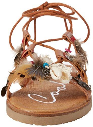COOLWAY Daikiri, Sandalias con Tira de Tobillo para Mujer Marrón (Cuero)