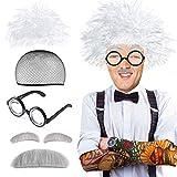 Beelittle Old Man Mad Scientist Wig Set Albert Einstien Ben Benjamin Franklin Grandpa Costume - Wig, Eyebrows, Mustache, Glasses Dress Up Set (C)