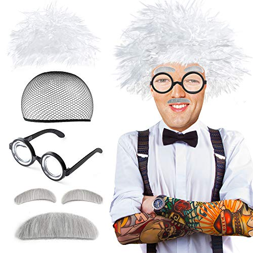 Beelittle Old Man Mad Scientist Wig Set Albert Einstien Ben Benjamin Franklin Grandpa Costume - Wig, Eyebrows, Mustache, Glasses Dress Up Set ()