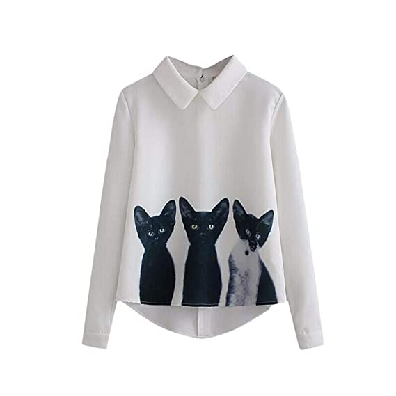 YanHoo Tops de Mujer Solapa Tres Camisas de Jersey de Gato Las Mujeres Sueltan la Gasa Tres Gatos Tops Manga Larga Camisa Blusa Informal: Amazon.es: Ropa y ...