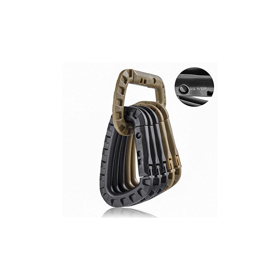Carabiner Tactical 6pcs DB.WOR Enforcement Polymer Light Weight D ring Hanging Hook