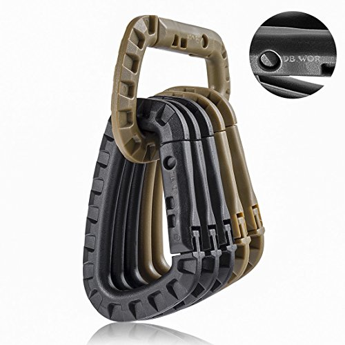 Carabiner Tactical 6pcs DB.WOR Enforcement Polymer Light Weight D ring Hanging Hook