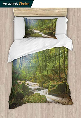 Woodland Custom Made Quilt Cover and Pillowcase Set, Forest Scene at Golitha Falls Nature Reserve on The River Fowey Cornwall England, Duvet Cover with Pillowcases Child Bedding Sets 2 Piece