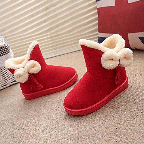 Amiley Femmes Bowknot Pantoufles Bottes En Plein Air Doux Chaud Hiver Neige Bottine Rouge