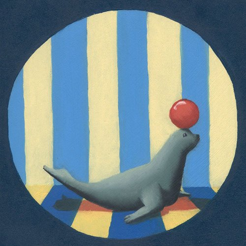 Oopsy Daisy Circus Seal Canvas Stretched Art by Margot Curran, 14 by 14-Inch