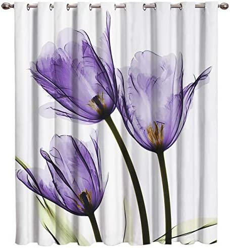 Cloud Dream Home Purple Tulip Flower Darkening Blackout Window-Treatment-Panels