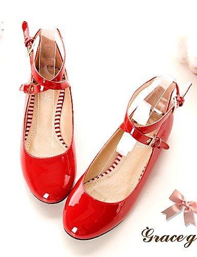 Rosa Punta Red ShangYi libero Rosso Ufficio Finta Scarpe pelle Nero Donna Ballerine e Tempo Casual Piatto lavoro arrotondata RnqHRZwTx