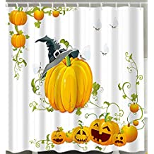 Happy Halloween Decoration Shower Curtain, Pumpkin Harvest Autumn Leaves Happy Thanksgiving Bathroom Decor Waterproof Midew Resistant Bath Curtain with C-type Hooks (Style 2)