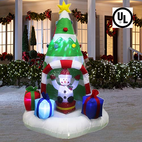ANOTHERME 7 Feet Christmas Inflatable Tree with Rotating Snowmen and Twinkle Lights