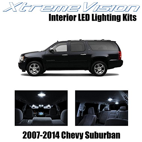 XtremeVision Chevy Suburban 2007-2014 (14 Pieces) Pure White Premium Interior LED Kit Package + Installation Tool