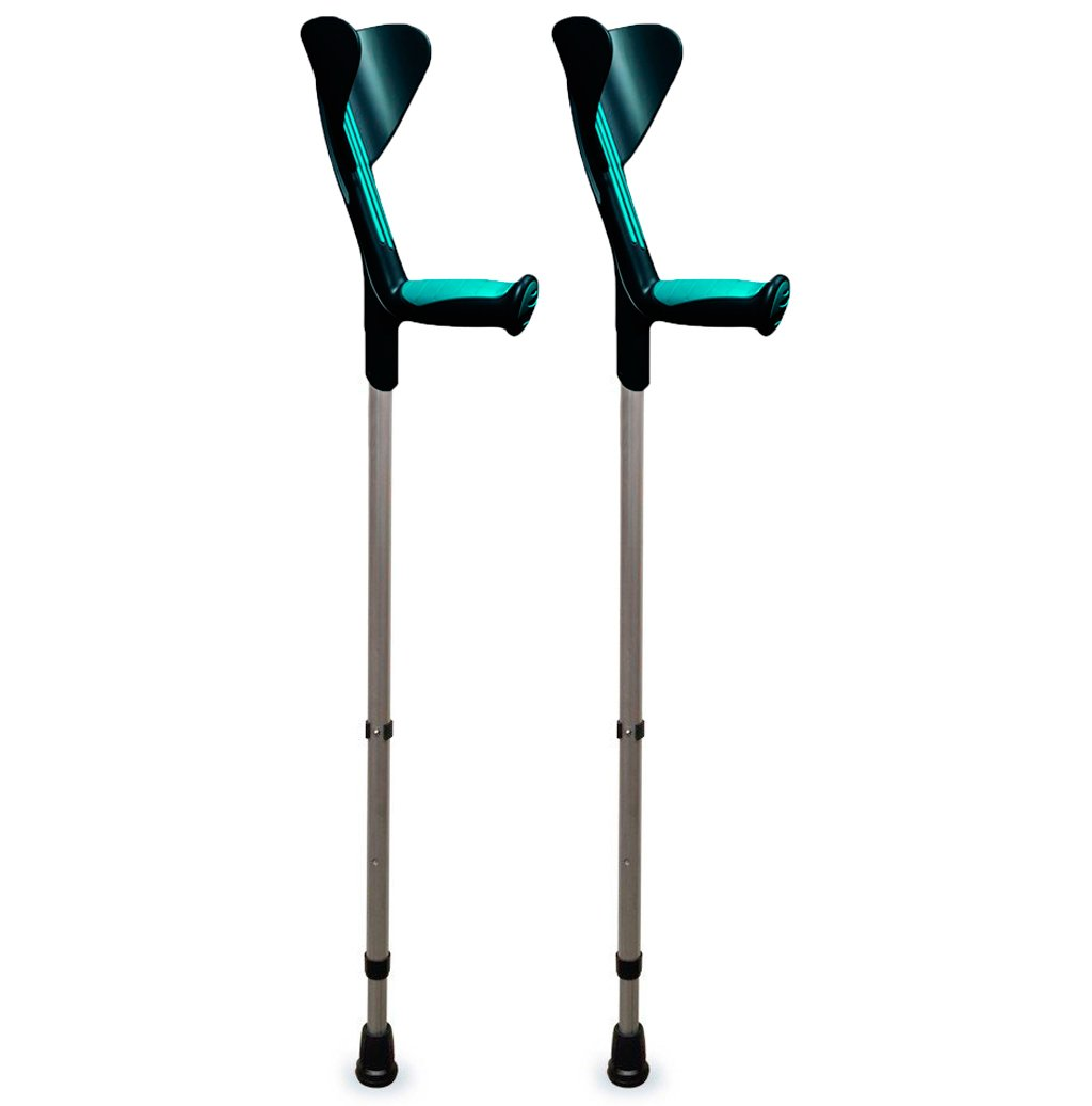 """ORTONYX Walking Forearm Crutches 1 Pair - Ergonomic Handle with Comfy Grip - High Density Sturdy Aluminum - Standard Size, Height 30''-40"""""""