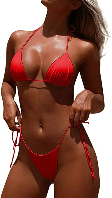 Acilnxm Two-Piece Swimsuits for Women Color Block Swimwear with High Waisted Bottom Bikini Sets Beachwear
