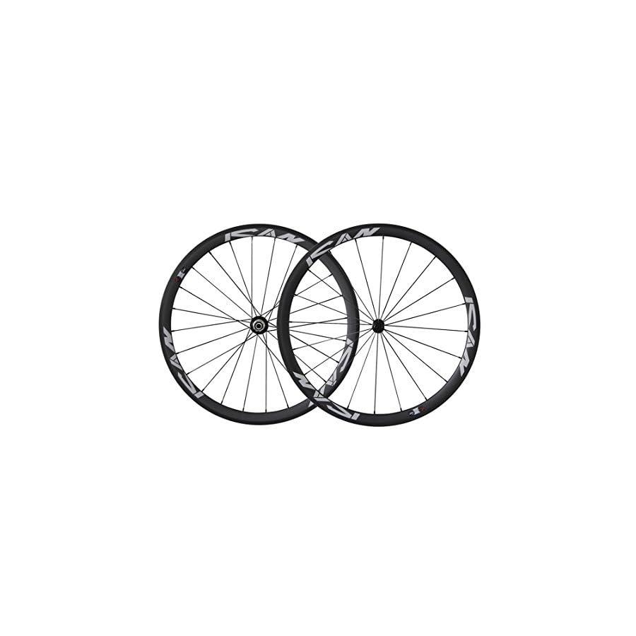 ICAN 700C Lightweight Road Bike Carbon Wheelset Clincher 38mm Basalt Brake Surface Rim Shimano or Sram 10/11 Speed 1420g (Classic Wheels)