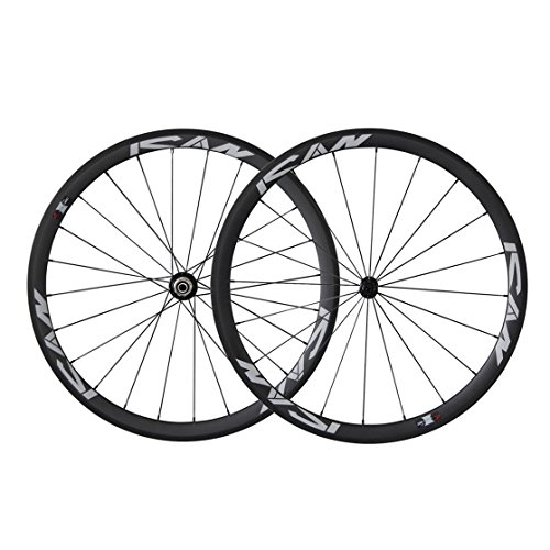 ICAN 700C Lightweight Road Bike Carbon Wheelset Clincher 38mm Basalt Brake Surface Rim Shimano or Sram 10/11 Speed 1420g (Classic Wheelset) (38 Mm Carbon)