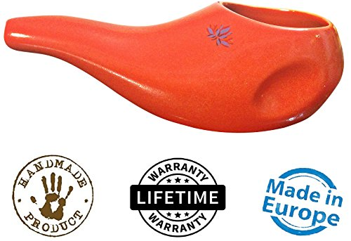 - Sattvic Path BEST Rated Ceramic Neti Pot - Ergonomic Design and Hand-made, Dusk Red