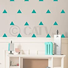 Triangle wall pattern vinyl decal stickers (Turquoise, 4x4 set of 51)