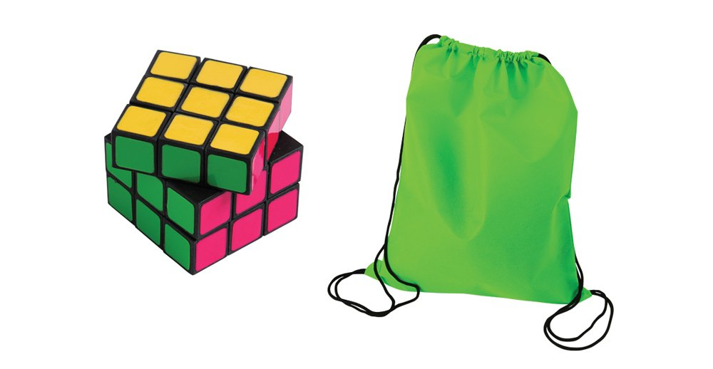 Neon Puzzle Cube Toy Party Favor Supplies 24 Piece Set for 12 Bundle Puzzle Cubes Drawstring Backpacks