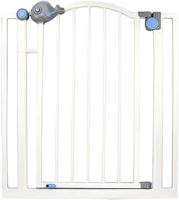 Valla de seguridad infantil valla de puerta de protección de peces de dibujos animados valla de aislamiento de perro mascota, valla de escalera, barrera de seguridad de cierre automático de 90 grados: