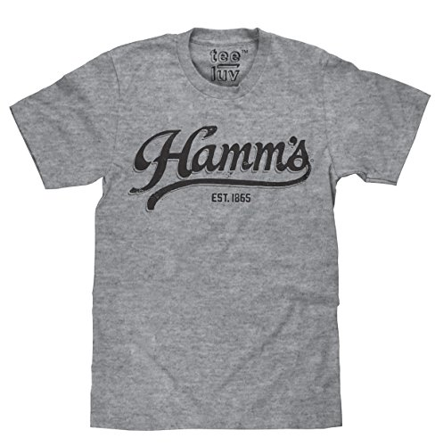 Tee Luv Hamm's Beer T-Shirt - Hamms Beer Established 1865 Shirt (Grey) (X-Large)