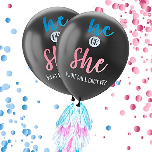 Gender Reveal Balloon Kit - 2-Pack Giant XL Confetti Balloons with 24 Tassels and String - Gender Reveal Party Supplies, 36-Inch Diameter Balloons