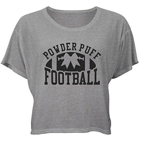 Powder Puff Football Crop: Bella Ladies Flowy Boxy Cropped Tee (Powder Football Puff)