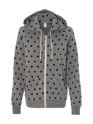 Dot Hoodie - Alternative Women's Printed Adrian Fleece Zip-Front Hoodie, Eco Grey/Black Dot, X-Large