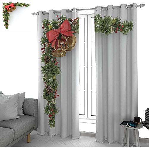 "NUOMANAN Thermal Insulated Blackout Curtain Christmas,Coniferous Tree Ornament with Customary Bells and Baubles Hanging Xmas Corner,Multicolor,Blackout Draperies for Bedroom Living Room 52""x72"""