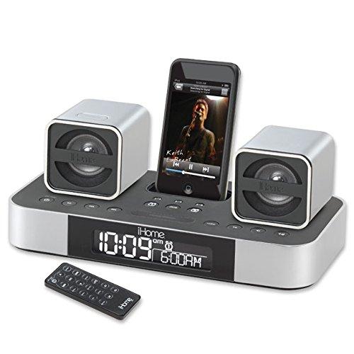iHome iH51 2.1 Micro System with Dual Alarm Clock Radio for iPod (Silver) (3g Dual Alarm Iphone)