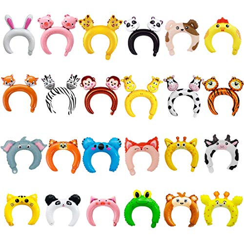 24 Pack Inflatable Headband Cute Animal Headband Balloon Hair Band for kids & Adults Party Favors -