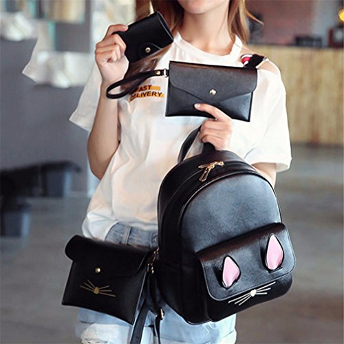 Bag Pcs Women 4 Backpack 3 A01 A02 Leather Travel YqAEn5w