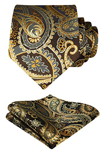 HISDERN Paisley Tie Handkerchief Woven Classic Men's Necktie & Pocket Square Set (Gold & Brown)