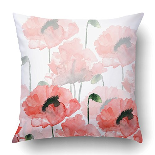 Emvency Throw Pillow Covers Red Birthday Watercolor Flowers