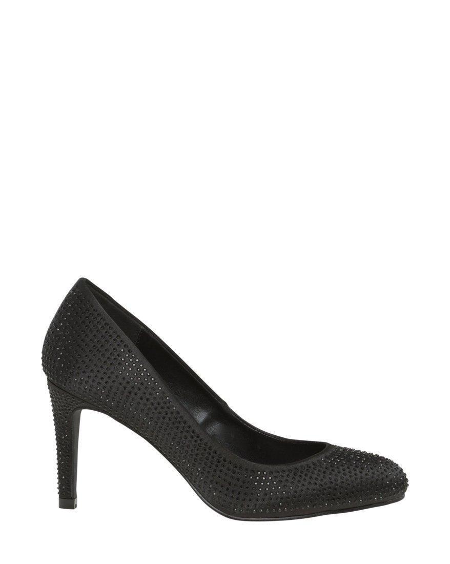 LE CHÂTEAU Women's Jewel Embellished Satin Mid Heel Pump,9,Black